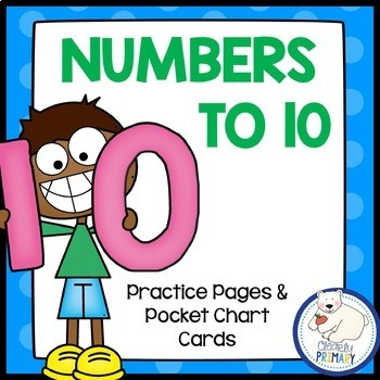 Numbers 1-10 Practice Pages and Pocket Chart Cards