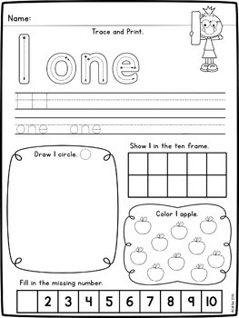 Numbers 1-10 Worksheets and Pocket Chart Cards by Clearly ...
