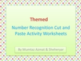 Number 1-10 Recognition Cut & Paste Activity Worksheets with 7 Themes: