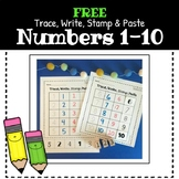 Number 1-10 Recognition-Trace, Write, Stamp & Paste