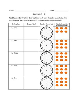 Number 1-10 Spelling/Math Activity