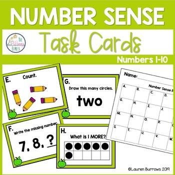 Numbers 1-10 Task Cards for Number Sense - First Grade and Kindergarten
