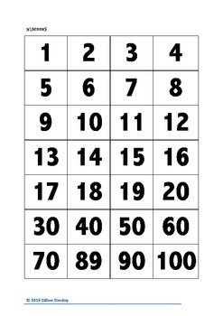 Numbers in Dutch - Activity  (1-100)