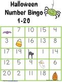 Number 1-20 Bingo Game Halloween themed