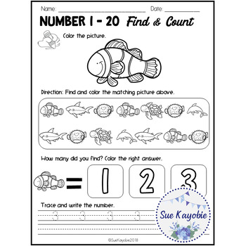 Number 1 - 20 Find & Count Free Samples