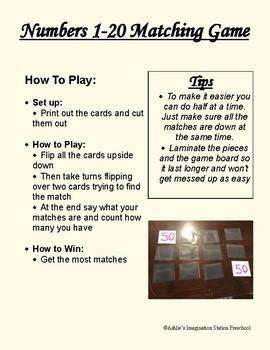 Number 1-20 Matching Game