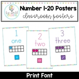 Number 1-20 Posters - Print Font