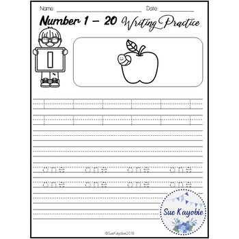 Number 1 - 20 Writing Practice Set 2