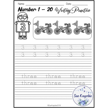 Number 1 - 20 Writing Practice Set 2 Free Samples
