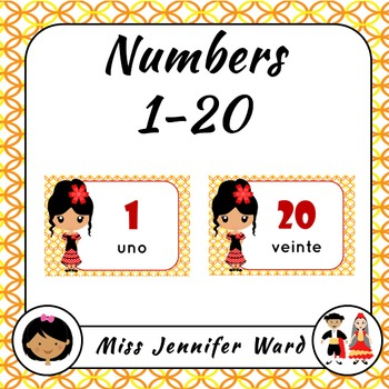 Number 1-20 posters in Spanish (Girl)