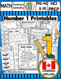 Number 1 Math Worksheets-NO PREP- CANADIAN SPELLING