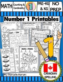 Number 1 Math Worksheets-NO PREP- CANADIAN SPELLING
