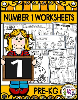 Number 1 Math Worksheets-NO PREP (PRE-KG EDITION)- Countin