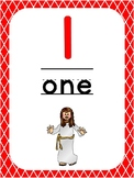 Number 1 Printable Bible Number Poster. Preschool-Kindergarten Numbers.