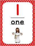 Number 1 Printable Bible Number Poster. Preschool-Kindergarten Numbers.