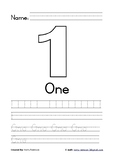 Number 1 Writing Practice Coloring in Worksheet (with name) Black & White
