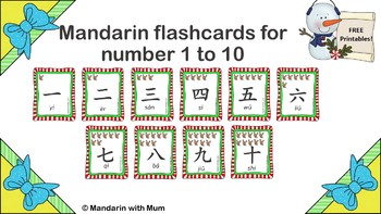 Number 1 to 10 flashcards in Mandarin