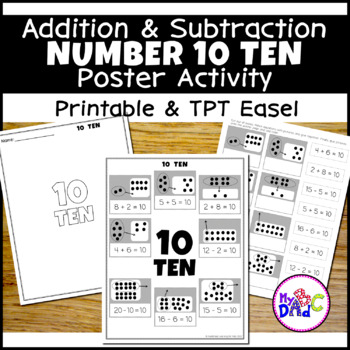 Number 10 Add and Subtract Math Poster Activity
