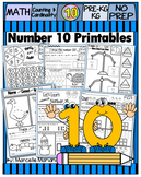 Number 10 Math Worksheets-NO PREP- Counting and Cardinality CCSS