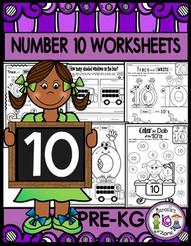 Number 10 Math Worksheets-NO PREP (PRE-KG EDITION)-Countin