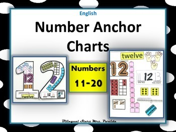 Number 11-20 Anchor Charts-Posters-English-Bilingual Stars Mrs. Partida