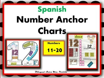 Number 11-20 Anchor Charts-Posters-Spanish-Bilingual Stars Mrs. Partida