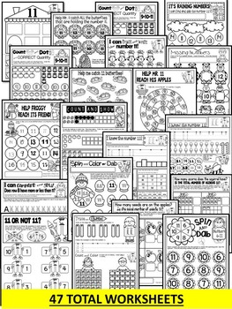 Number 11 Math Worksheets-NO PREP- BUNDLE PACK, CCSS