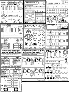 Number 11 Math Worksheets-NO PREP (KG EDITION)-Counting and Cardinality CCSS