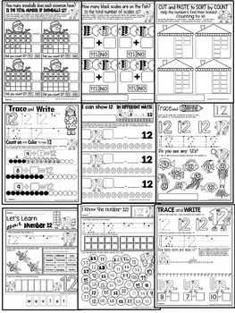 Number 12 Math Worksheets-NO PREP (KG EDITION)-Counting and Cardinality CCSS