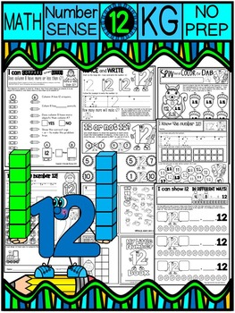 Number 12 Math Worksheets-NO PREP (KG EDITION)-Counting an