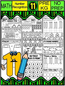 Number 11 Math Worksheets-NO PREP (PRE-KG EDITION)-Counting and Cardinality CCSS