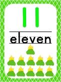 Number 11 Printable Bible Number Poster. Preschool-Kindergarten Numbers.