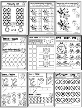 Number 12 Math Worksheets-NO PREP (PRE-KG EDITION)-Counting and Cardinality CCSS