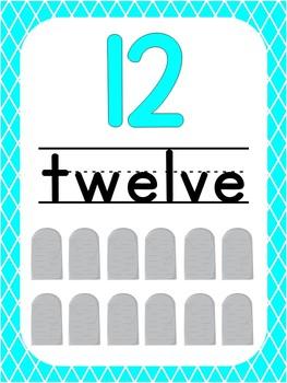 Number 12 Printable Bible Number Poster. Preschool-Kindergarten Numbers.