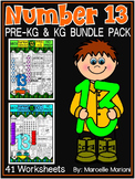 Number 13 Math Worksheets-NO PREP- DIFFERENTIATED-PRE-KG AND KG