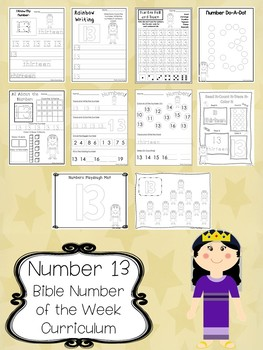 Number 13 Queen Esther Printable Bible Worksheets. Bible Number of the Week.