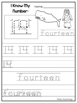 Number 14 Jonah and the Whale Printable Bible Worksheets. Number of the Week