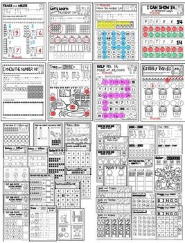 Number 14 Math Worksheets-NO PREP- BUNDLE PACK, CCSS