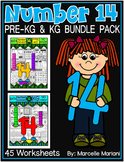 Number 14 Math Worksheets-NO PREP- DIFFERENTIATED-PRE-KG AND KG