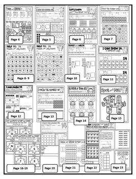 Number 14 Math Worksheets-NO PREP (KG EDITION)-Counting and Cardinality CCSS