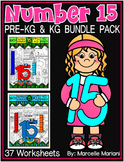 Number 15 Math Worksheets-NO PREP- DIFFERENTIATED-PRE-KG AND KG