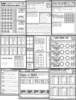 Number 15 Math Worksheets-NO PREP (KG EDITION)-Counting and Cardinality CCSS