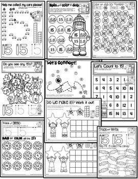 Number 15 Math Worksheets-NO PREP (PRE-KG EDITION)-Counting and Cardinality CCSS