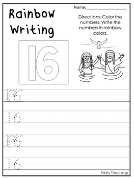 Number 16 Baptism of the Lord Printable Bible Worksheets.  Number of the Week