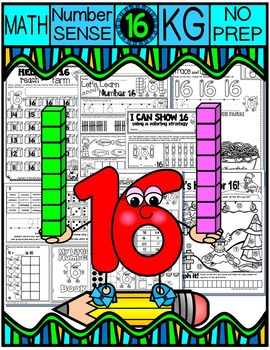 Number 16 Math Worksheets-NO PREP (KG EDITION)-Counting and Cardinality CCSS