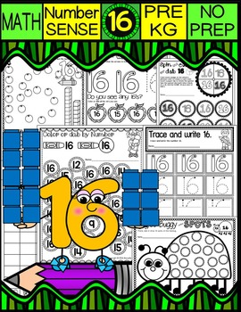 Number 16 Math Worksheets-NO PREP (PRE-KG EDITION)-Counting and Cardinality CCSS