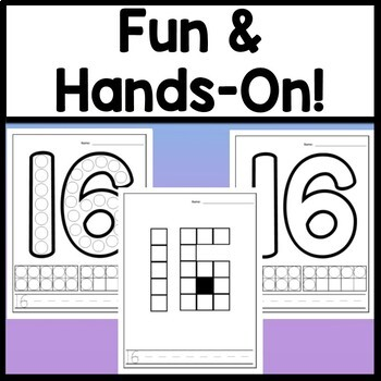 Number 16 Worksheet and Number 16 Activities!  {Number of the Day Kindergarten}