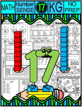Number 17 Math Worksheets-NO PREP (KG EDITION)-Counting and Cardinality CCSS