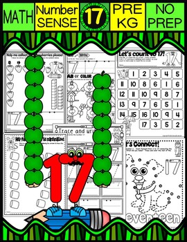 Number 17 Math Worksheets-NO PREP (PRE-KG EDITION)-Countin