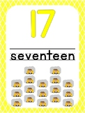 Number 17 Printable Bible Number Poster. Preschool-Kindergarten Numbers.